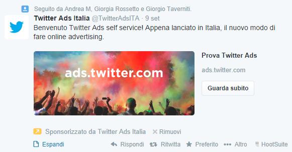 twitter tweet sponsorizzato