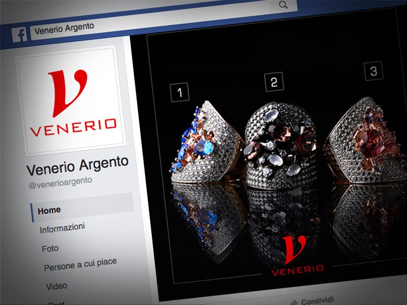 Dettaglio pagina Facebook Venerio con logo e post sondaggio
