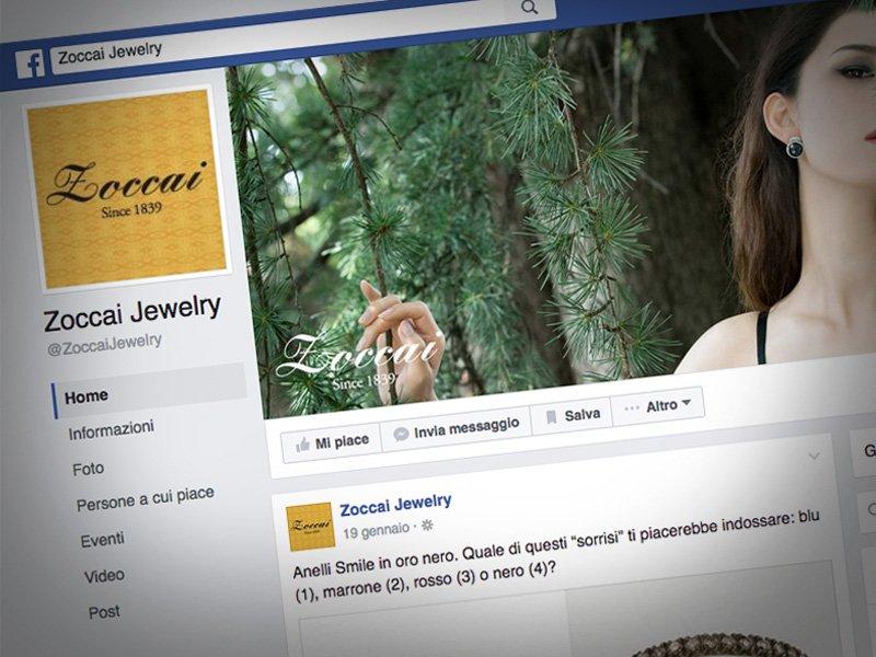 Dettaglio pagina Facebook Zoccai con logo e post sondaggio