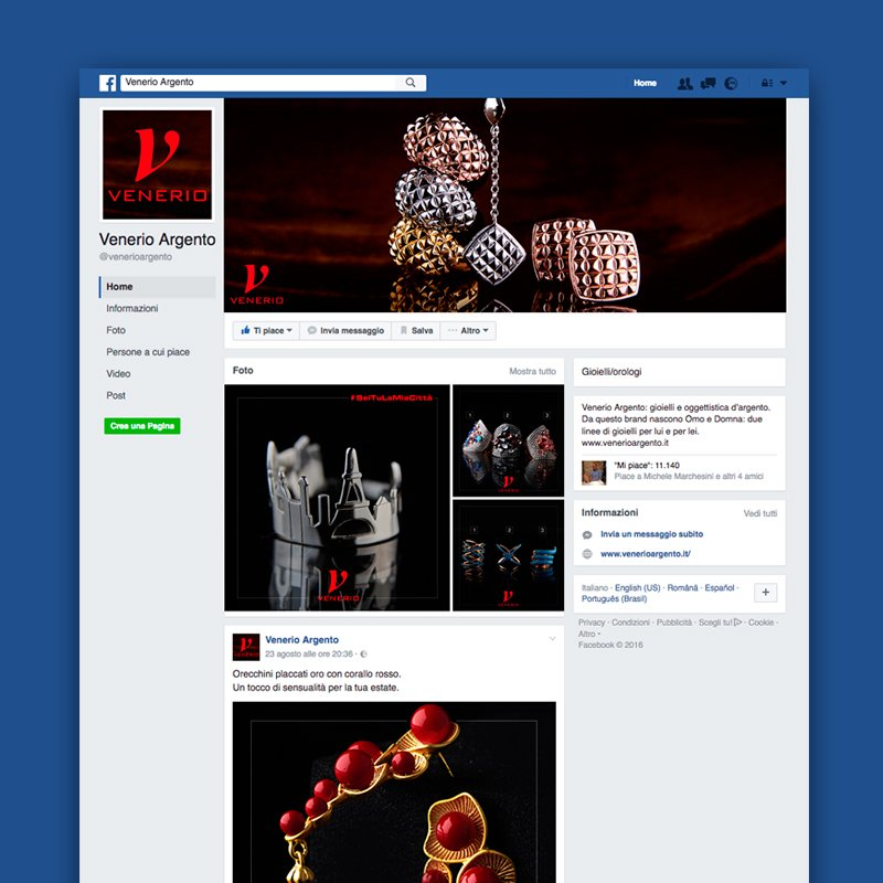 Panoramica pagina Facebook Venerio