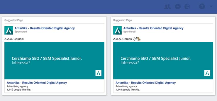 Screenshot Facebook Ads uso Emoji