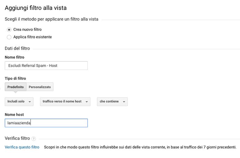 Analytics filtro hostname