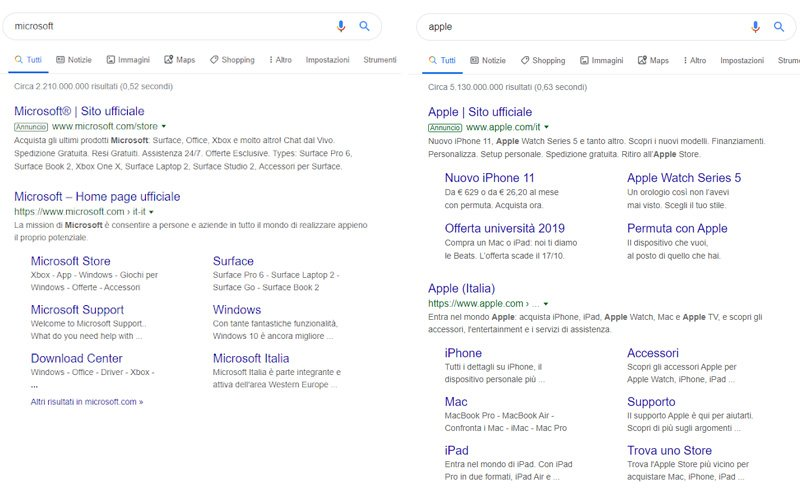 Screenshot dei risultati SERP per Microsoft e Apple
