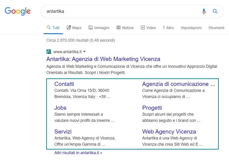 Esempio sitelink Google