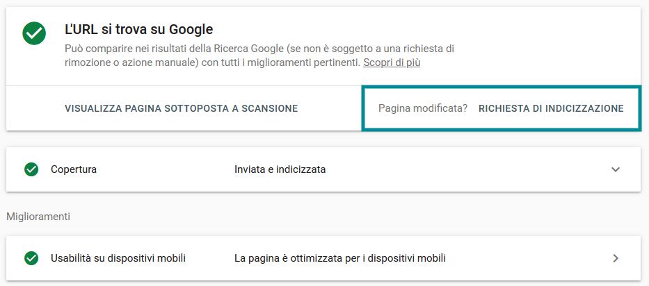 richiesta indicizzazione google search console